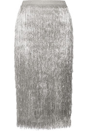 Delliah metallic fringed knitted skirt