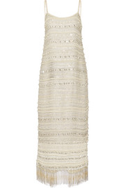 Keegan lace-up embellished silk-chiffon dress