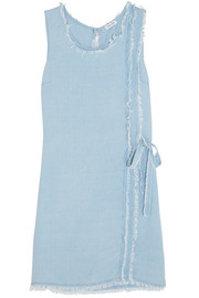 Splendid Frayed washed-crepe de chine mini dress