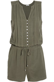 Pleated voile playsuit