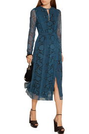 Burberry London Snake-print silk-chiffon midi dress