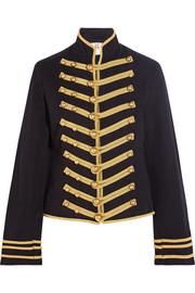 Regiment embroidered cotton and linen-blend twill jacket