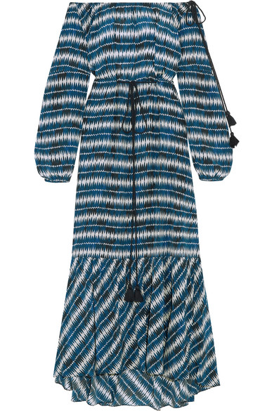 Figue - Marlie Off-the-shoulder Printed Silk Maxi Dress - Blue