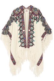 Havelli fringed embroidered alpaca poncho