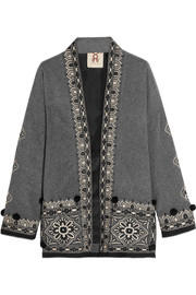 Haveli embellished wool and cashmere-blend jacket