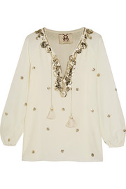 Serena embelllished silk blouse