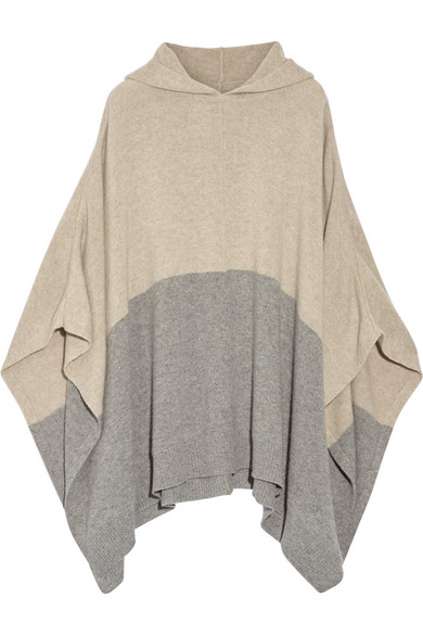chinti and parker female  chinti and parker hooded colorblock cashmere poncho mushroom