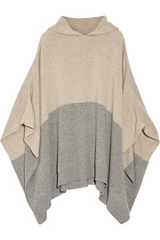 Hooded color-block cashmere poncho