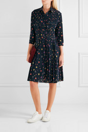 Chinti and Parker Pleated printed stretch-silk shirt dress