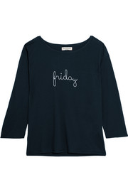 Chinti and Parker Friday embroidered cotton-jersey top