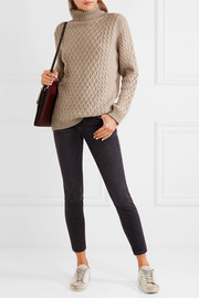 Chinti and Parker Aran cable-knit merino wool turtleneck sweater