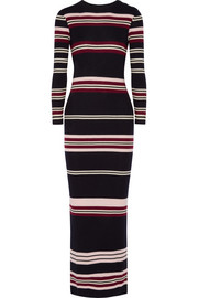 Chinti and Parker Ribbed striped merino wool maxi dress