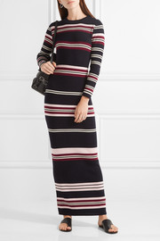 Ribbed striped merino wool maxi dress