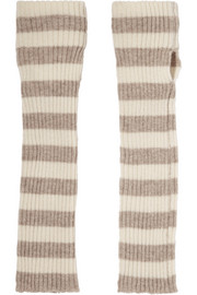 Striped cashmere arm warmers