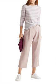 Chinti and Parker Cropped cotton-blend twill wide-leg pants