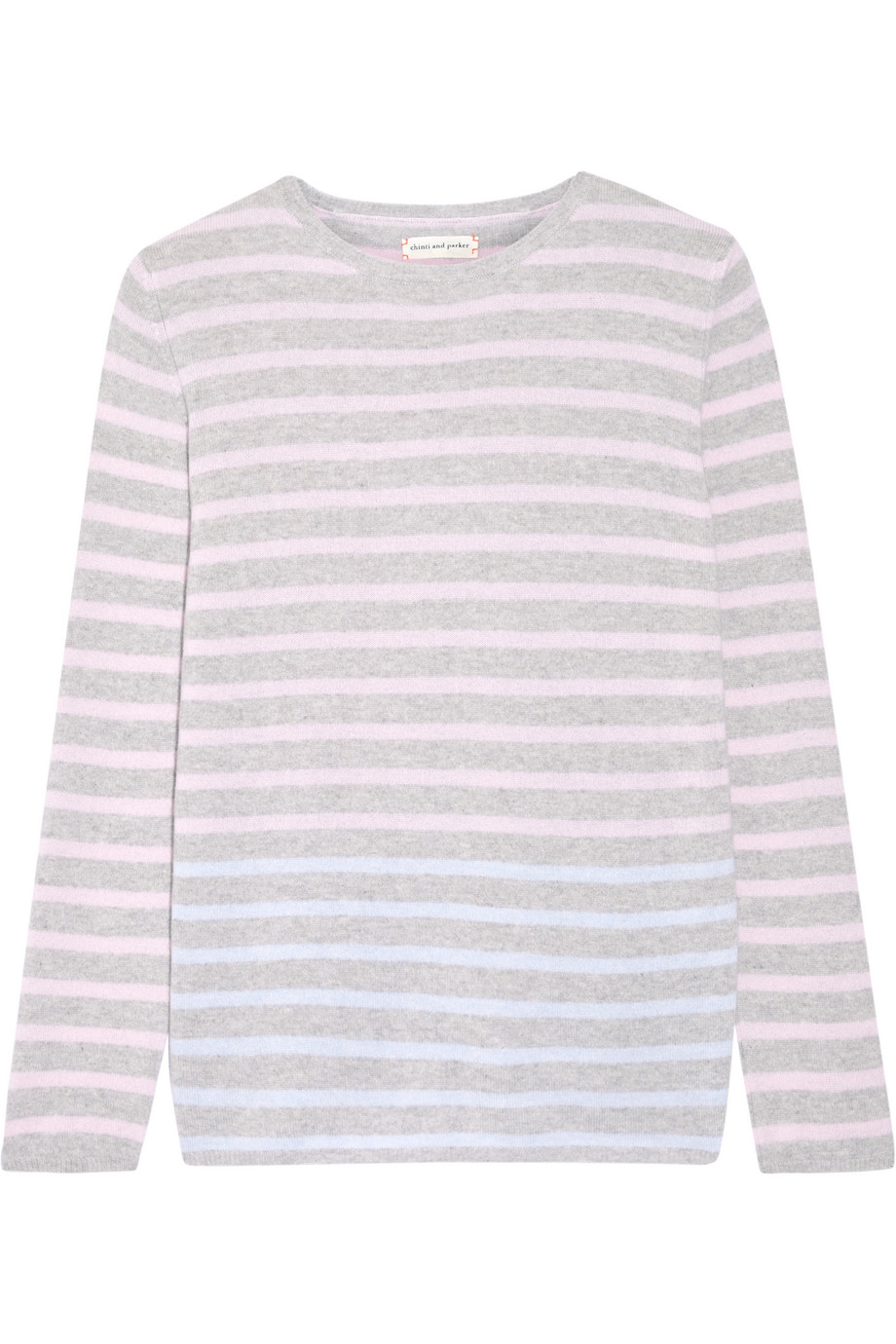 Striped Cashmere Sweater, Chinti and Parker, Pastel Pink, Women's