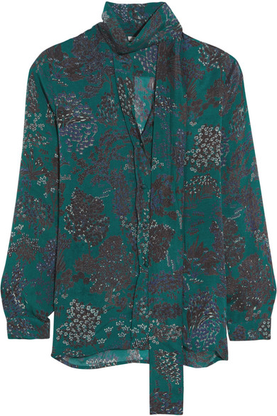 Mes Demoiselles - Tormina Pussy-bow Printed Silk Crepe De Chine Blouse - Emerald