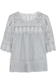 Pleated broderie anglaise cotton blouse