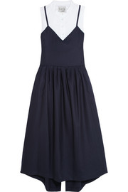 Wool-piqué and cotton-poplin dress