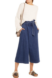 SEA Cropped wrap-effect high-rise wide-leg jeans