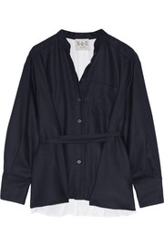 SEA Wool-piqué and cotton-poplin shirt