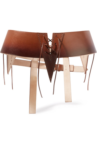 Cutout ombré leather waist belt