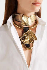 TOM FORD Gold-tone and leather choker