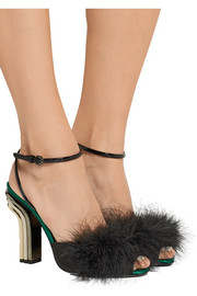 Marco De Vincenzo Feather-embellished satin and patent-leather sandals