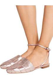 Marco De Vincenzo Woven metallic leather flats