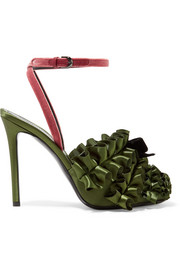 Velvet-trimmed ruffled satin sandals