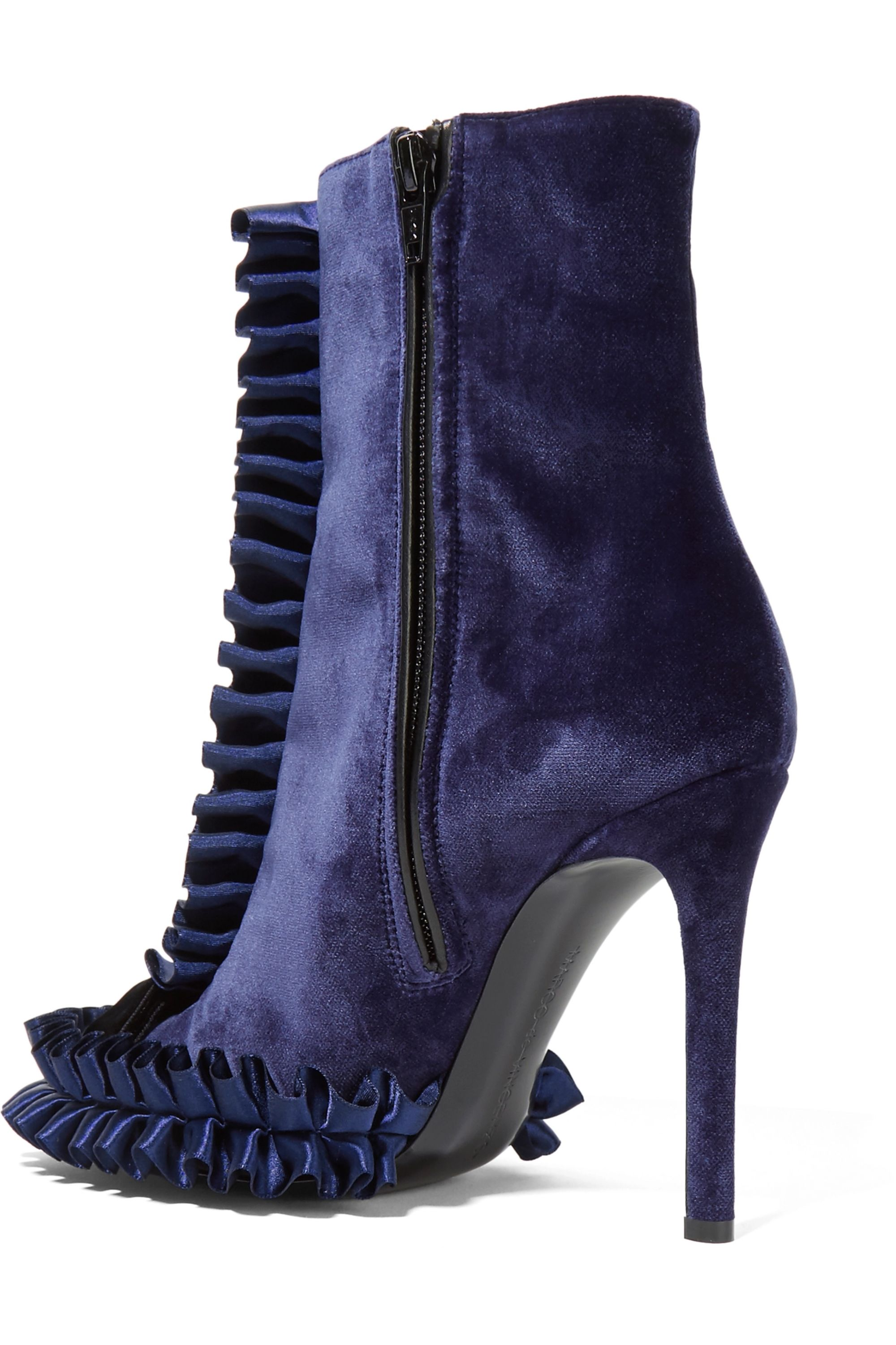 Marco De Vincenzo Ruffled satin and velvet ankle boots