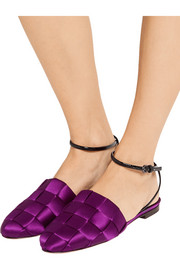 Marco De Vincenzo Patent leather-trimmed woven satin slippers