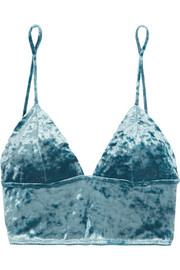 Crushed-velvet soft-cup triangle bra
