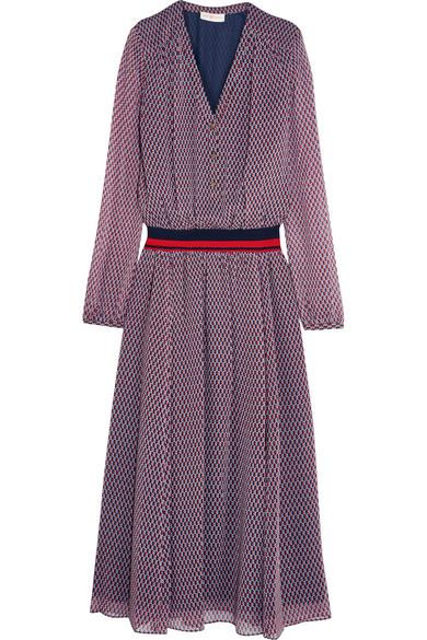 Tory Burch - Velma Striped Jersey-trimmed Printed Silk-crepe Dress - Purple