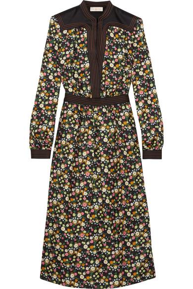 Tory Burch - Promenade Floral-print Silk-twill Dress - Black