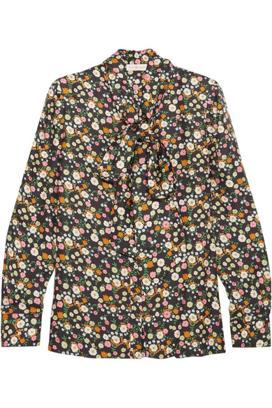 Tory Burch - Azra Pussy-bow Floral-print Silk-twill Blouse - Black