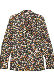 Tory Burch Azra pussy-bow floral-print silk-twill blouse