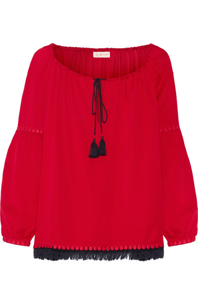 Tory Burch - Sylvie Fringe And Guipure Lace-trimmed Silk Blouse - Red