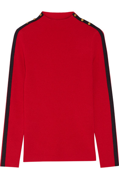 Tory Burch - Sardy Striped Ribbed Wool Turtleneck Sweater - Red