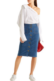 Rivoli stretch-denim pencil skirt