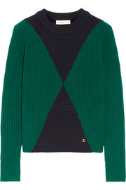 Tory Burch Poppy ribbed intarsia wool-blend sweater