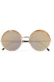 Cutler and Gross Round-frame leather-trimmed acetate and rose gold-tone sunglasses