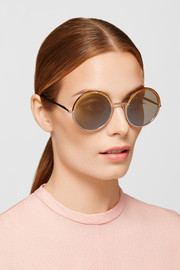 Round-frame leather-trimmed acetate and rose gold-tone sunglasses