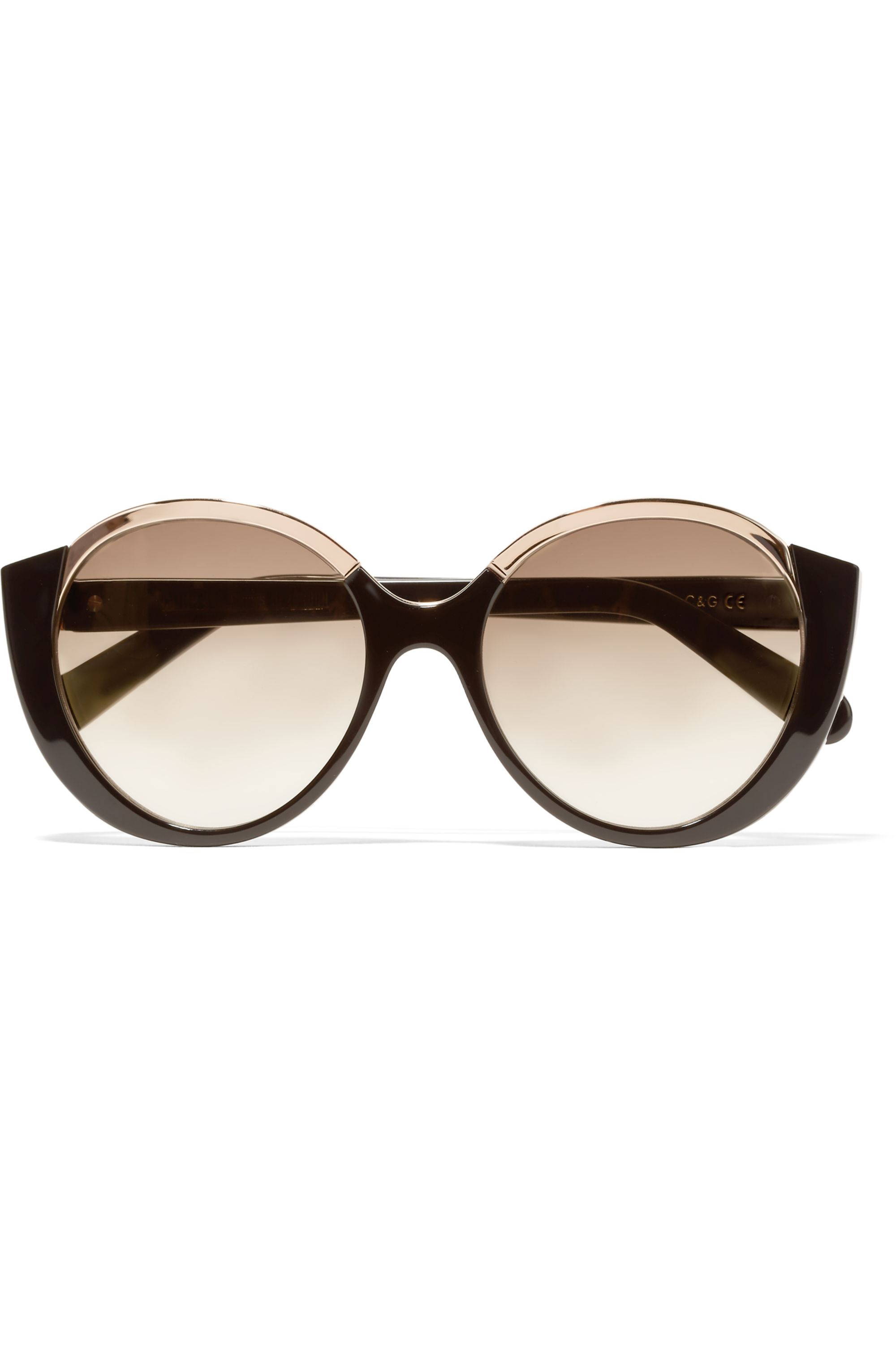 Cutler and Gross Mai Tai round-frame acetate and rose gold-tone sunglasses