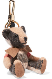 London checked cashmere keychain