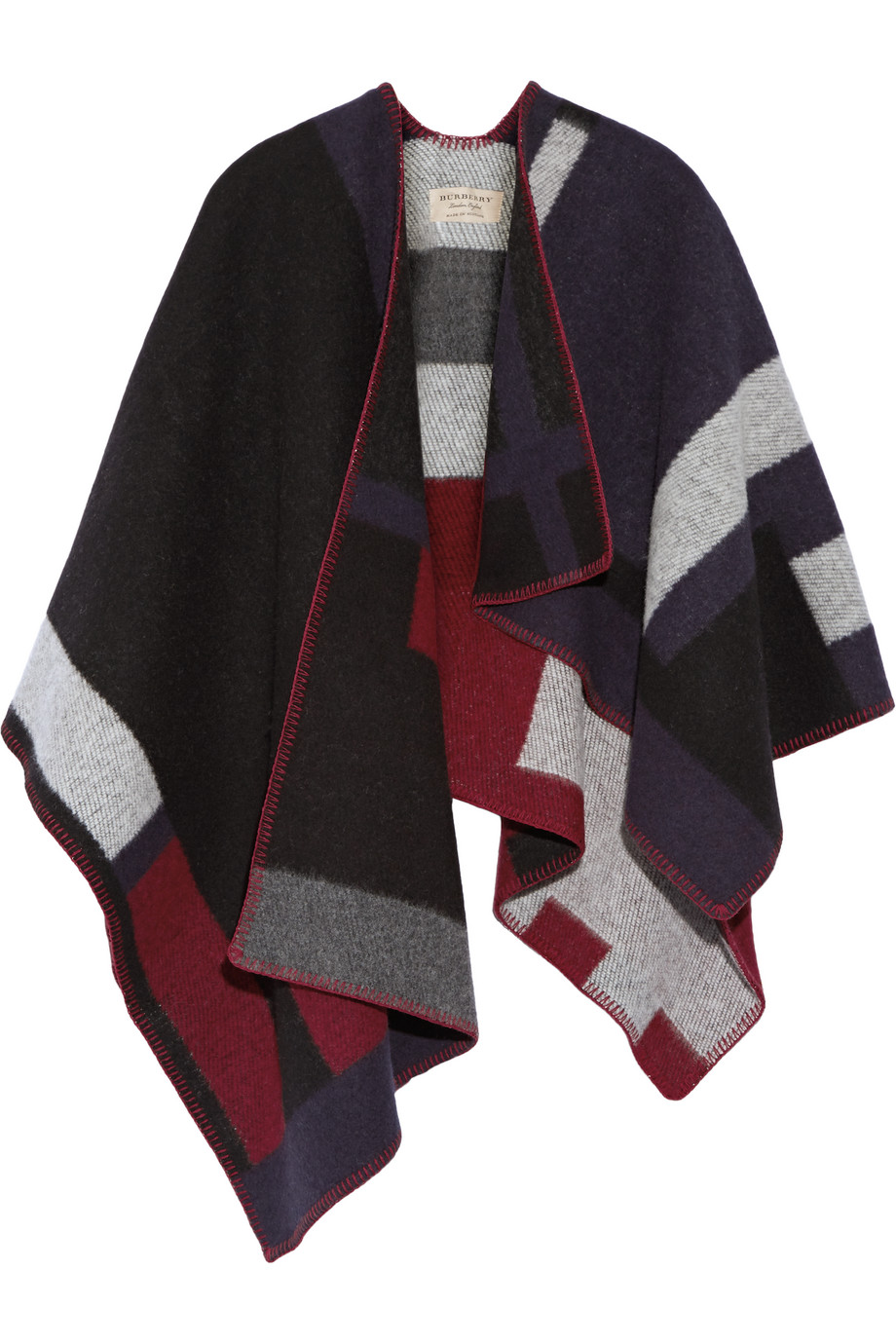 Checked Wool and Cashmere-Blend Wrap, Burberry Prorsum, Navy, Women's