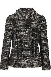 Crystal-embellished metallic tweed jacket