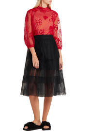 Simone Rocha Embroidered tulle blouse