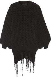 Frayed open-knit wool sweater