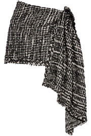 Embellished metallic tweed wrap